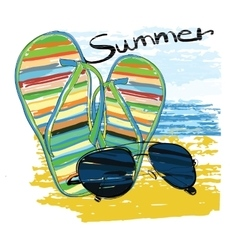 background summer with lettering sunglasses vector image