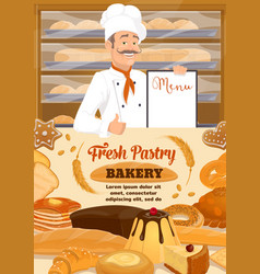 bakery shop bread and desserts baker menu vector image