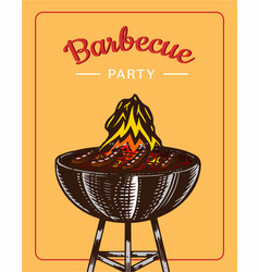 barbecue grill elements set isolated on yellow vector image