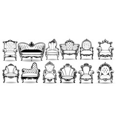 Baroque armchair and sofa set french vector