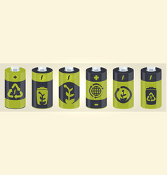 battery cylinder elements with eco icons vector image