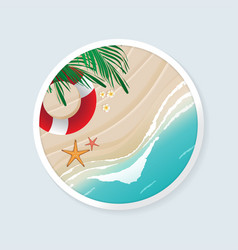 Beach in circle frame vector