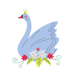 beautiful grey swan princess with golden crown vector image
