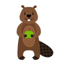 beaver cartoon beaver character isolated vector image