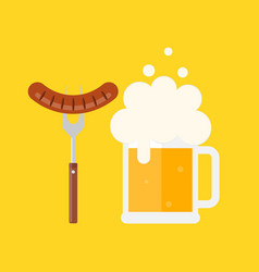 beer mug with foam and sausage on a barbecue fork vector image