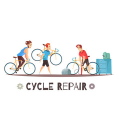 Bicycle repair mechanic cartoon composition vector