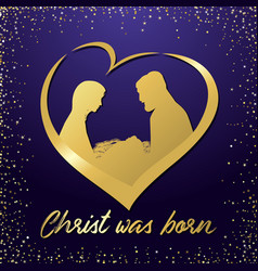 birth christ and manger in heart sparkles vector image