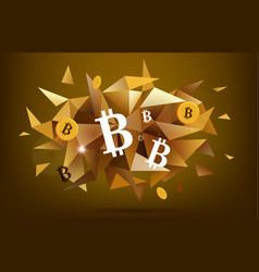 bitcoin concept abstract banner faceted golden vector image