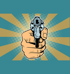 Bitcoin currency money finance revolver in hand vector