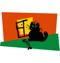 black cat sitting window vector image