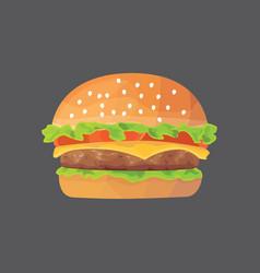 burger cartoon fast food cheeseburger or vector image