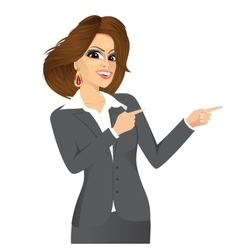Businesswoman pointing something vector