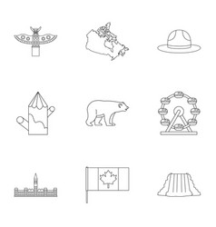 canada travel icon set outline style vector image
