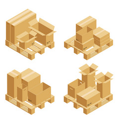 cardboard boxes and wood pallet vector image