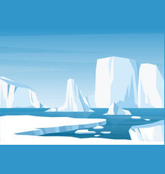 cartoon arctic ice landscape with iceberg vector image