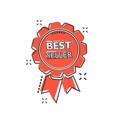 cartoon best seller ribbon icon in comic style vector image