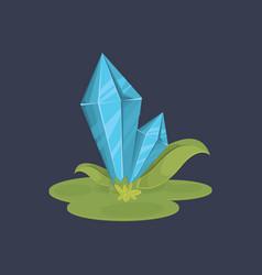 cartoon crystals over dark background vector image