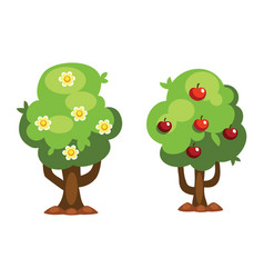 Cartoon garden green tree vector