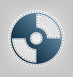 cd or dvd sign blue icon with vector image