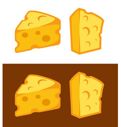 cheese icon on white and dark brown vector image
