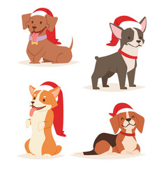 Christmas dog cute cartoon puppy characters vector