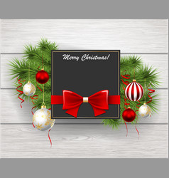 christmas greeting card with pine branches and vector image