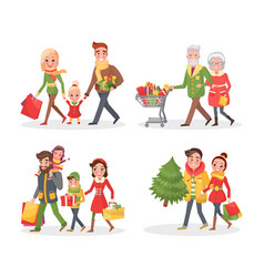 Christmas holidays shopping people with bags vector