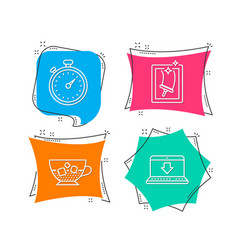 Cold coffee timer and window cleaning icons vector