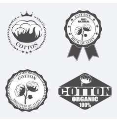 Cotton labels stickers and emblems vector image