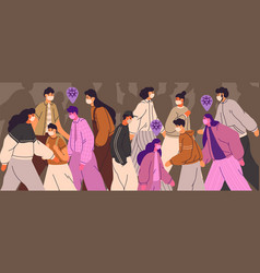 crowd people wearing face masks men women vector image