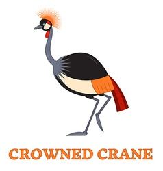Crowned Crane Line Art Icon vector image