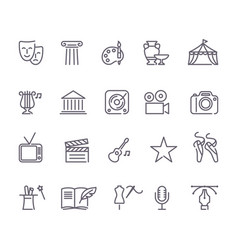 culture and creative fine art line icons set vector image