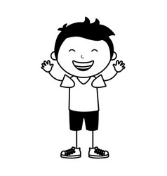 Cute little boy character vector