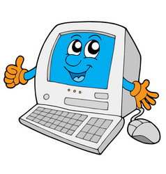 Cute small computer vector