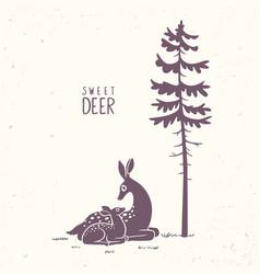 Deer fawn silhouette vector