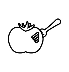 Drawing tomato vegetable on fork icon vector