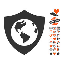 Earth shield icon with valentine bonus vector