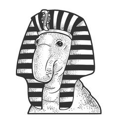 elephant seal egyptian pharaoh sketch vector image