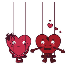 Female and male hearts couple cartoons vector