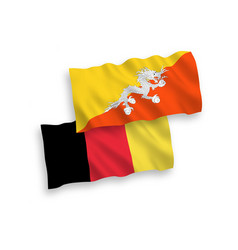 Flags of belgium and kingdom of bhutan on a white vector