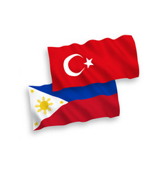 Flags turkey and philippines on a white vector