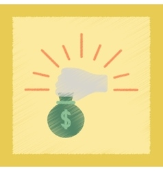 flat shading style icon money bag vector image
