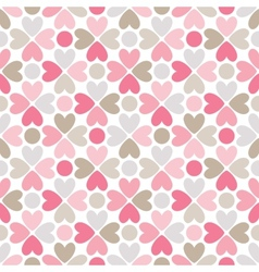 Floral seamless pattern with heart and dot shapes vector