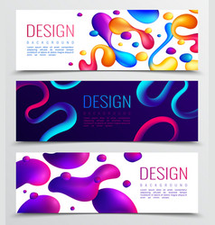 fluid horizontal banners set vector image