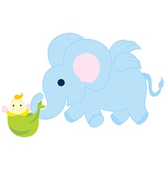 Flying Elephant With Baby vector image