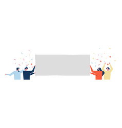fun social people holding empty white sign vector image