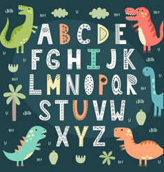 funny alphabet with cute dinosaurs vector image