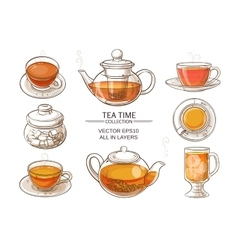 glass tea set color vector image