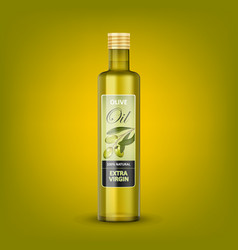glass transparent olive oil bottle mockup isolated vector image