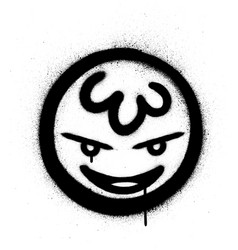 Graffiti naughty icon sprayed in black over white vector